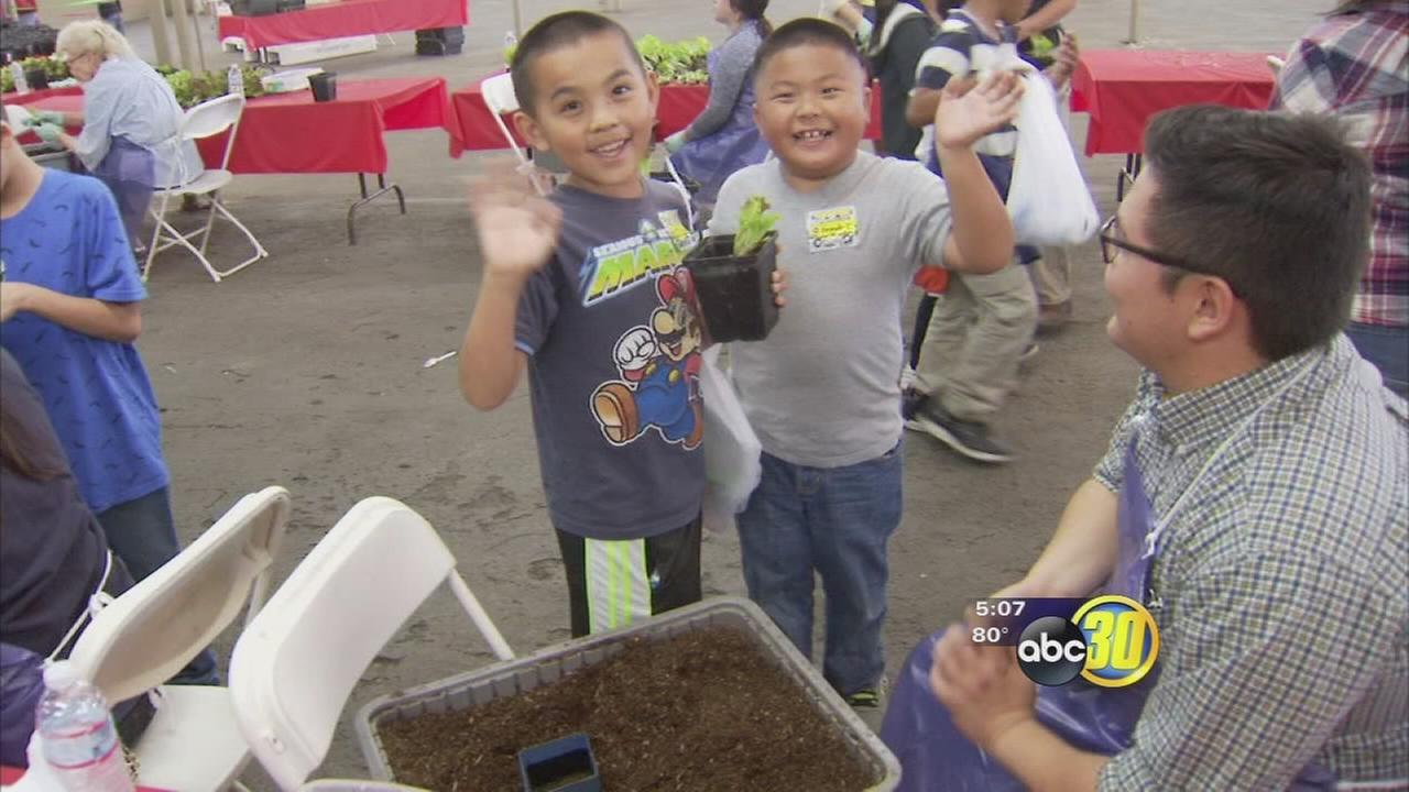 Students take part in Farm and Nutrition Day at the Fresno Fairgrounds