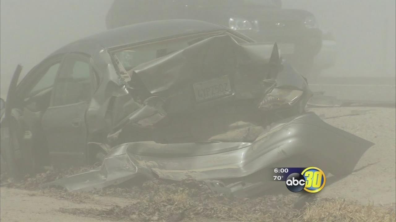 Multiple car crash on HWY 180 amid blowing dust