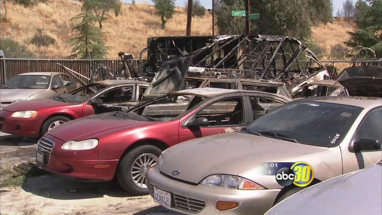 Several cars damaged in Southeast Fresno tow yard fire