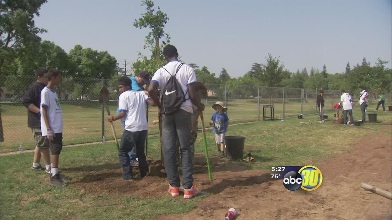 Students and community members celebrated Earth Day on Wednesday by planting trees at a Northwest Fresno school.