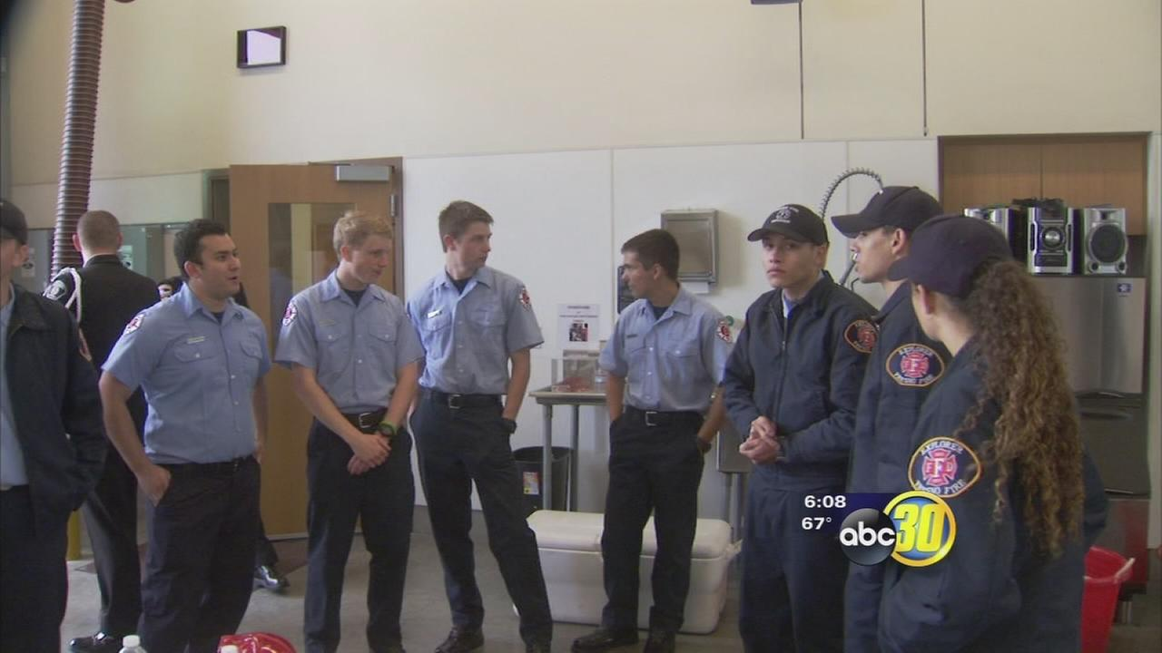 Firefighters show support for injured Fresno Fire Captain Pete Dern