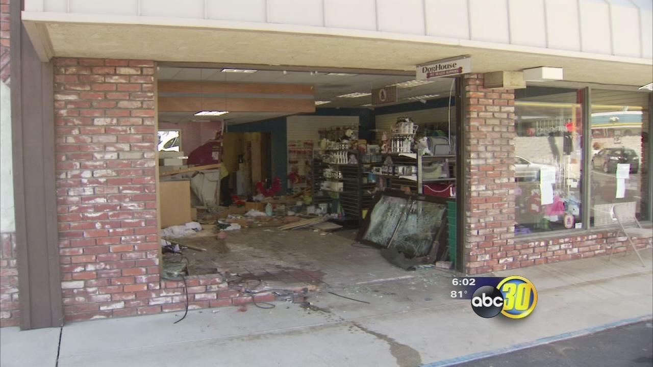 Car plows into Northwest Fresno pet store