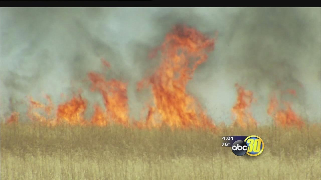 5 grass fires burn in Fresno County