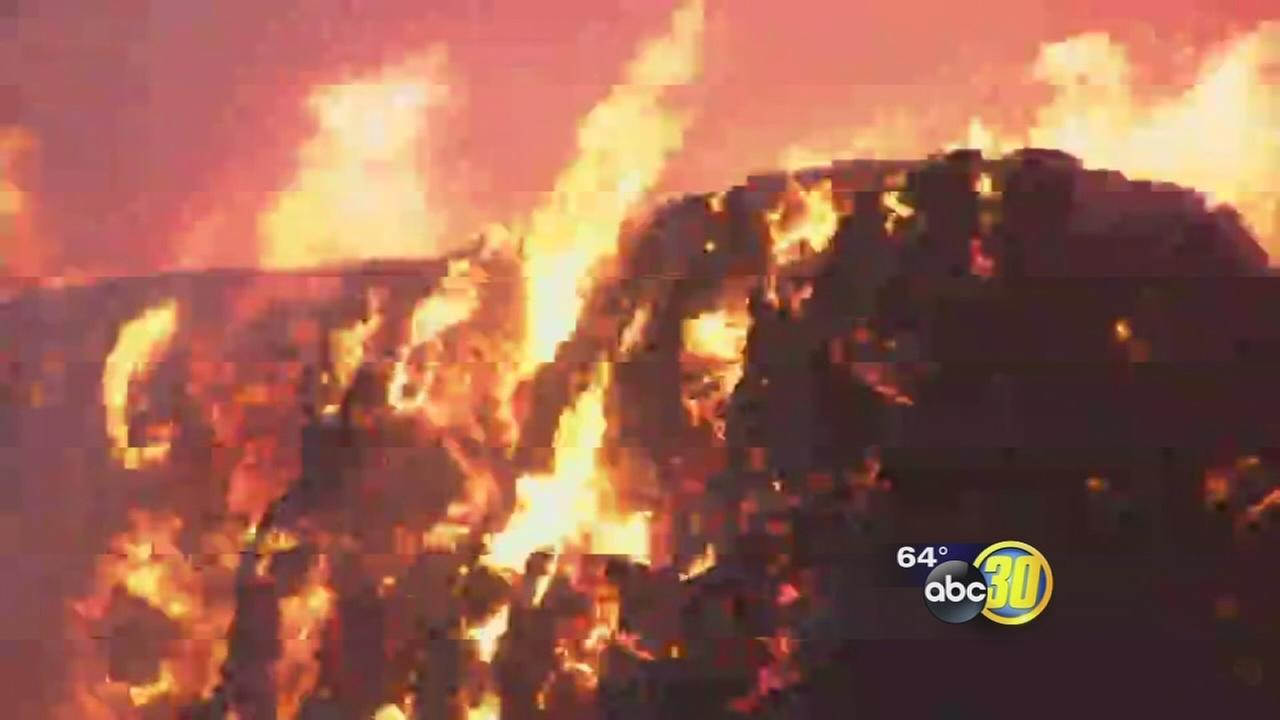 Fire burning 800 tons of hay in Merced County