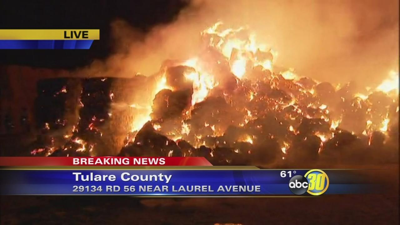 Over 10,000 tons of hay and silage burning in Tulare County