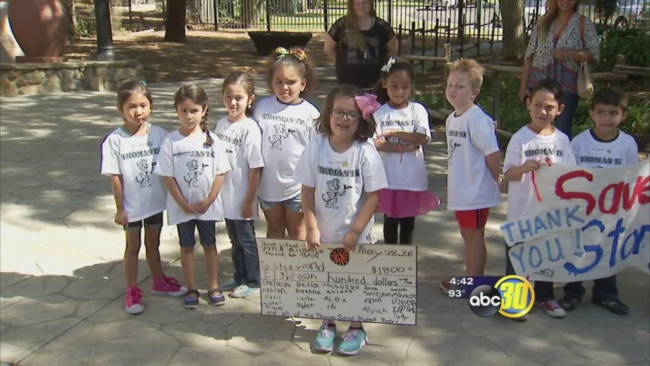 Kindergarteners donate $1,800 to Fresnos Storyland-Playland