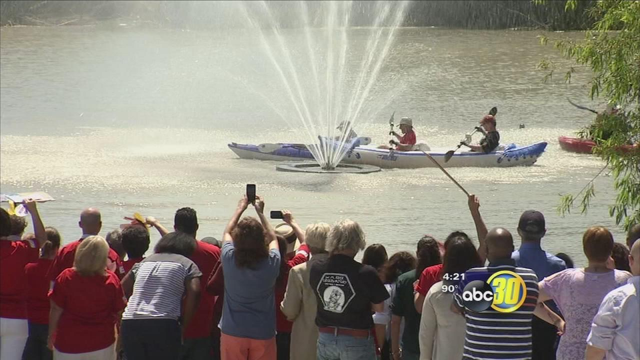 UC Merced administrators celebrate fundraising success with kayak ride
