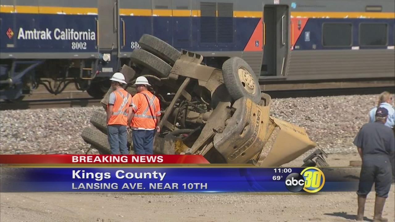 Amtrak train crashes into forklift in Kings County
