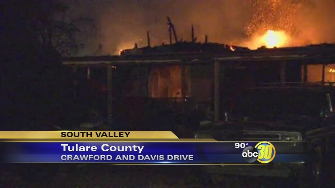 Firefighter injured battling blaze at a Dinuba home
