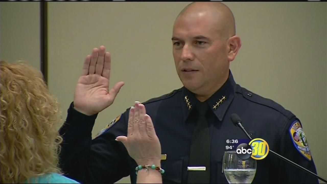 Visalia police chief presented with new badge