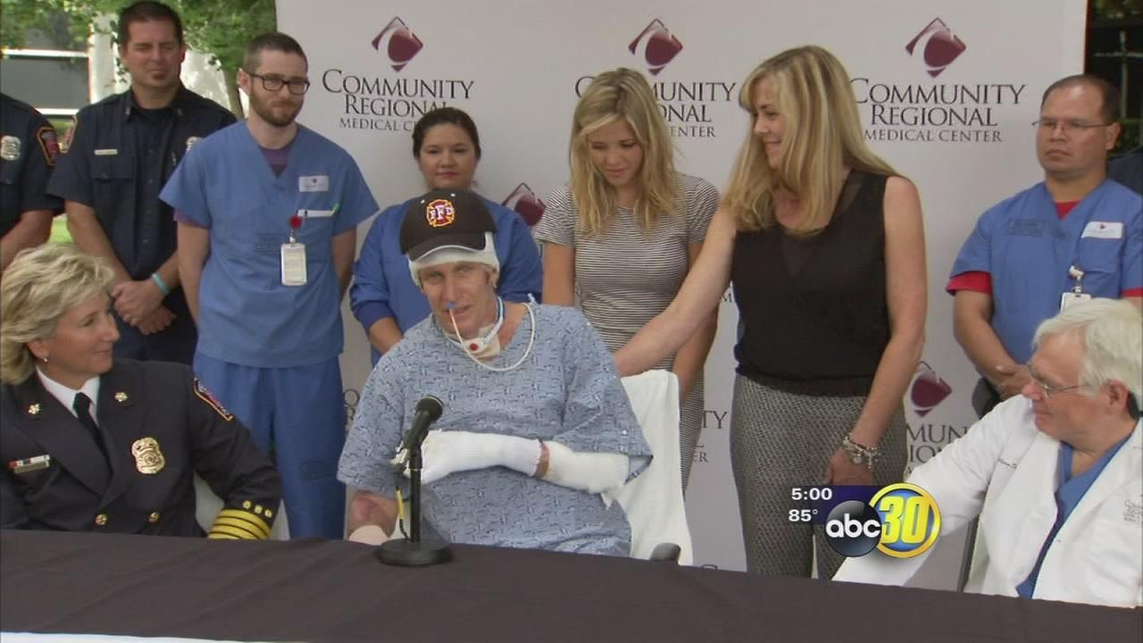 Injured Fresno firefighters sweet rehab with his wife