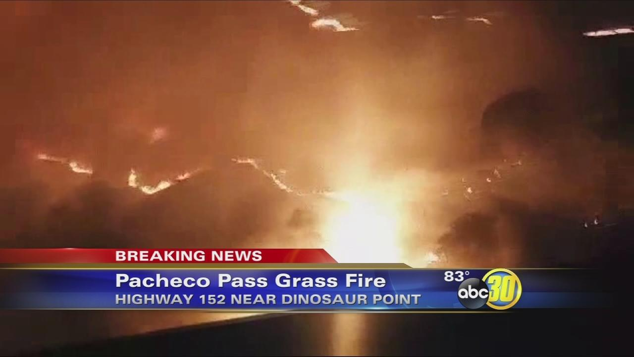 Grass fire burning along Pacheco Pass