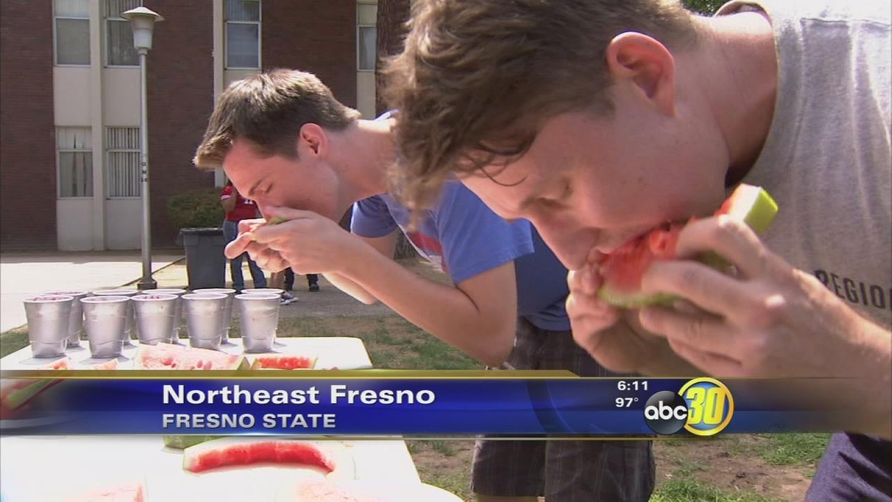Fresno State students meet classmates at Watermelon Games
