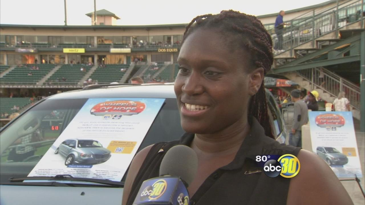 Wheels of Hope awards mom a minivan at Fresno Grizzlies game