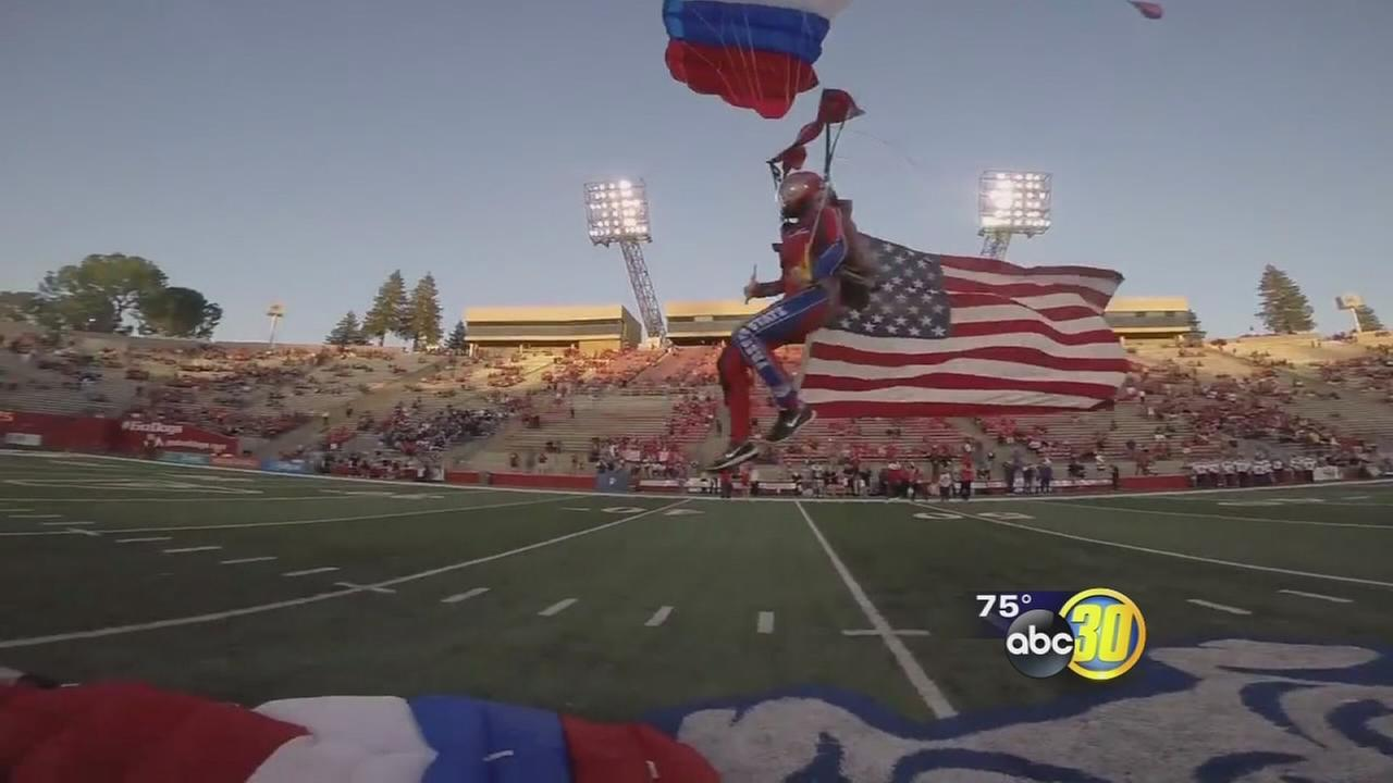 Group skydives into Bulldog Stadium in Northeast Fresno
