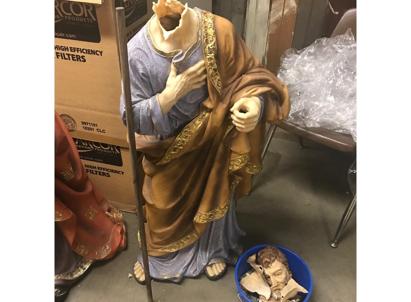 "<div class=""meta image-caption""><div class=""origin-logo origin-image none""><span>none</span></div><span class=""caption-text"">Basement broken into, nativity scene statues broken. (Photos provided by: Fresno attorney Michael Berdinella)</span></div>"