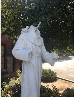 "<div class=""meta image-caption""><div class=""origin-logo origin-image none""><span>none</span></div><span class=""caption-text"">St. Francis of Assisi statue vandalized. Head and hands broken off. (Photos provided by: Fresno attorney Michael Berdinella)</span></div>"