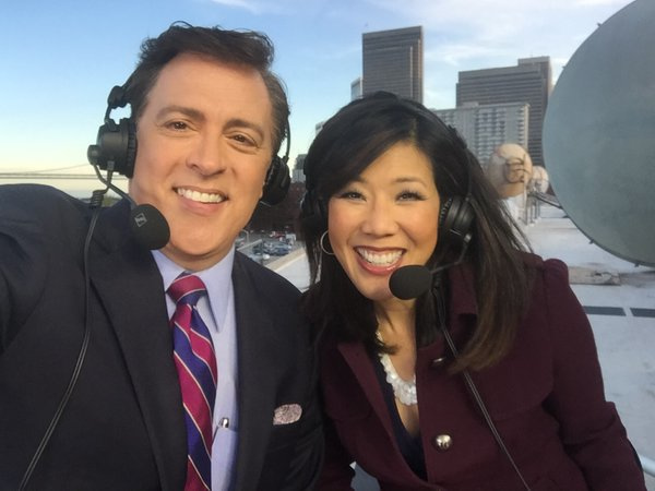 <div class='meta'><div class='origin-logo' data-origin='none'></div><span class='caption-text' data-credit='KGO-TV/Kristen Sze'>ABC7 News Anchors Dan Ashley and Kristen Sze with a spectacular view broadcasting atop the ABC7 Broadcast Center on Monday, Feb. 1, 2016.</span></div>