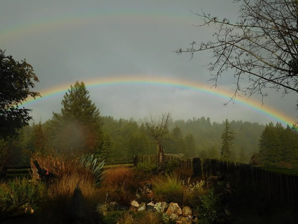"<div class=""meta image-caption""><div class=""origin-logo origin-image none""><span>none</span></div><span class=""caption-text"">This photo shows a double rainbow over Mendocino County Tuesday, January 5, 2016. (Photo submitted to KGO-TV by Jennifer Dishon Ciro/Facebook)</span></div>"