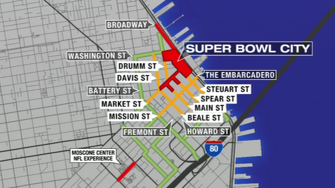 Traffic increases as San Francisco streets close for Super Bowl City