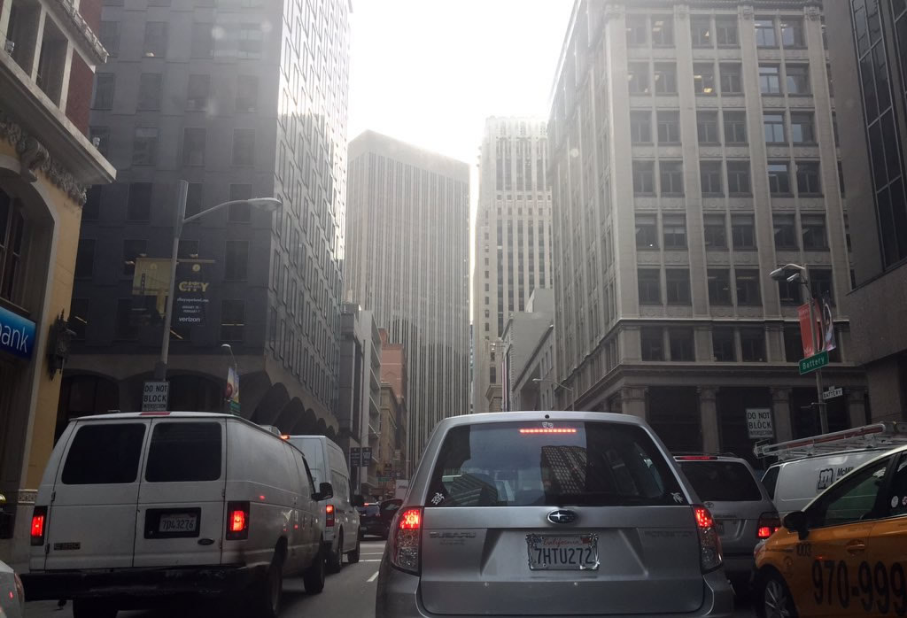 <div class='meta'><div class='origin-logo' data-origin='none'></div><span class='caption-text' data-credit='KGO-TV/Natasha Zouves'>Traffic nightmare on Battery Street in San Francisco while Super Bowl 50 construction is underway on Monday, Jan. 25, 2016.</span></div>