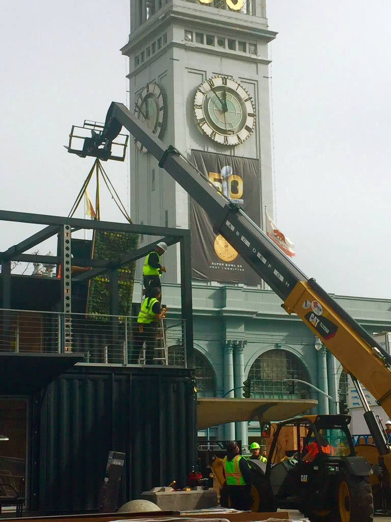 <div class='meta'><div class='origin-logo' data-origin='none'></div><span class='caption-text' data-credit='KGO-TV/Natasha Zouves'>Super Bowl City construction at the Ferry Building in San Francisco on Tuesday, Jan. 26, 2016.</span></div>