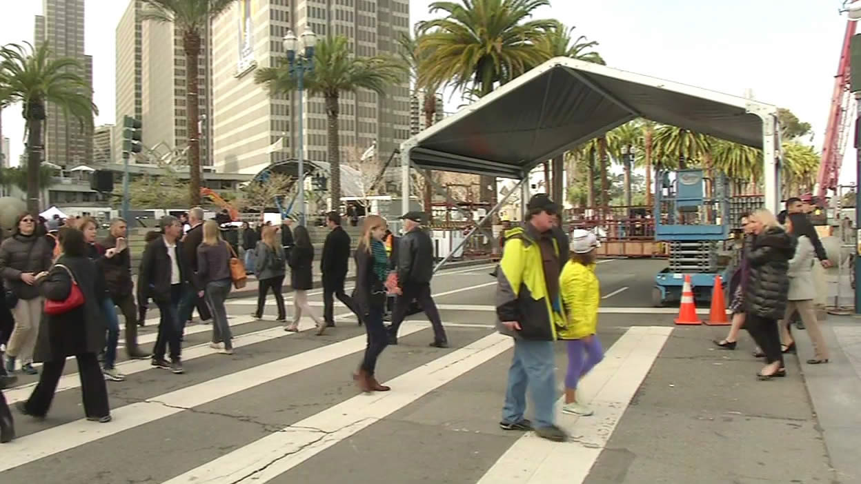 <div class='meta'><div class='origin-logo' data-origin='none'></div><span class='caption-text' data-credit='KGO-TV'>The Bay Area hosts Super Bowl 50!  San Francisco is buzzing as Super Bowl City construction is underway on Tuesday Jan. 26, 2016.</span></div>