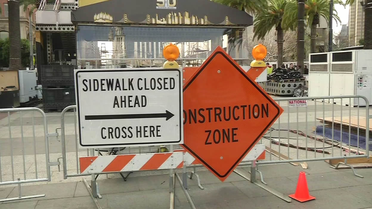 <div class='meta'><div class='origin-logo' data-origin='none'></div><span class='caption-text' data-credit='KGO-TV'>Traffic gridlock on the streets of San Francisco as Super Bowl City construction is underway on Monday Jan. 25, 2016.</span></div>