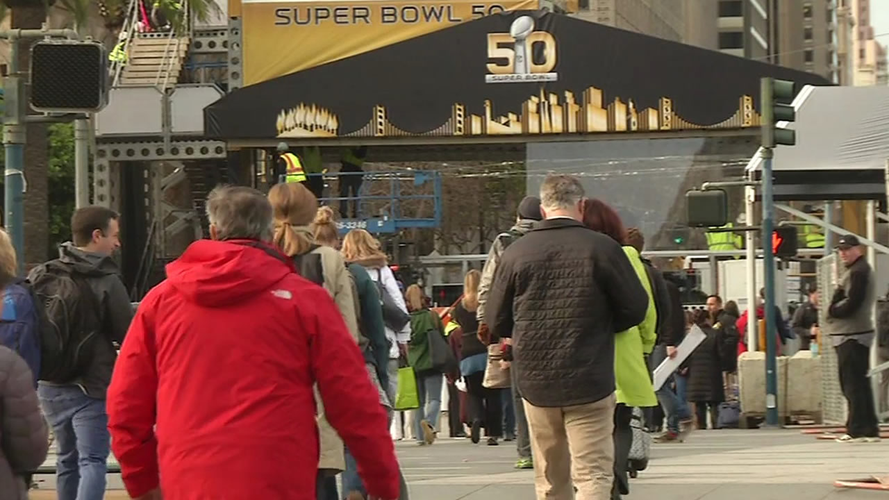 <div class='meta'><div class='origin-logo' data-origin='none'></div><span class='caption-text' data-credit='KGO-TV'>Construction underway as the Bay Area hosts Super Bowl 50!  In this photo taken Monday, Jan. 25, 2016, is Justin Herman Plaza in San Francisco.</span></div>