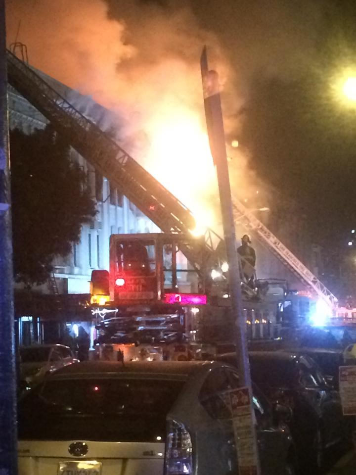 <div class='meta'><div class='origin-logo' data-origin='KGO'></div><span class='caption-text' data-credit=''>A fire burns in the Mission District neighborhood of San Francisco, Calif. on Jan. 28, 2015. (Photo by Will via Facebook)</span></div>
