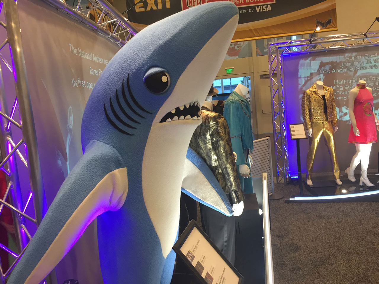 <div class='meta'><div class='origin-logo' data-origin='none'></div><span class='caption-text' data-credit='KGO-TV'>Shark from Katy Perry halftime show at Super Bowl, as seen at NFL experience in San Francisco, Sunday, January 31, 2016.</span></div>