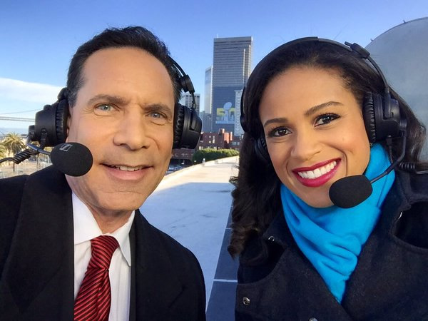 <div class='meta'><div class='origin-logo' data-origin='none'></div><span class='caption-text' data-credit='KGO-TV/Ama Daetz'>ABC7 News Anchors Larry Beil and Ama Daetz with a spectacular view broadcasting atop the ABC7 Broadcast Center on Monday, Feb. 1, 2016.</span></div>