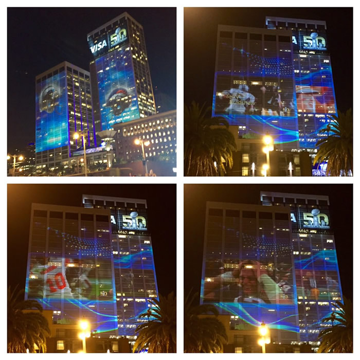 <div class='meta'><div class='origin-logo' data-origin='none'></div><span class='caption-text' data-credit='KGO-TV/Ama Daetz'>Super Bowl video feeds project onto San Francisco buildings at night on Monday, Feb. 1, 2016.</span></div>