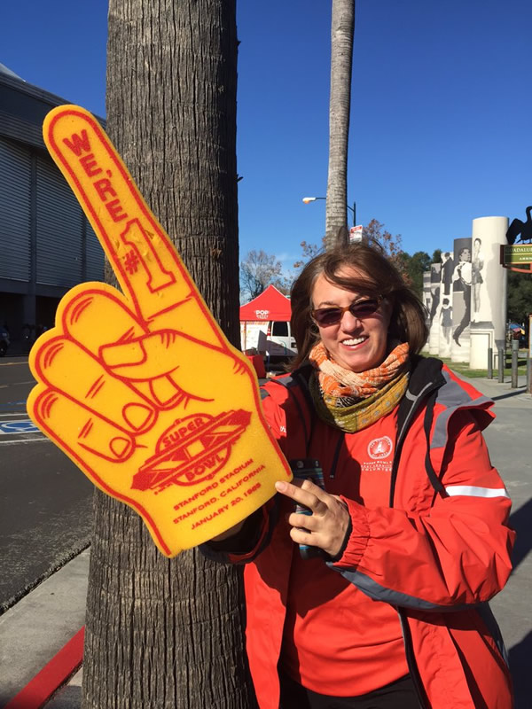 <div class='meta'><div class='origin-logo' data-origin='none'></div><span class='caption-text' data-credit='KGO-TV/David Louie'>Super Bowl volunteer poses at fan event in San Jose on Monday, Feb. 1, 2016.</span></div>