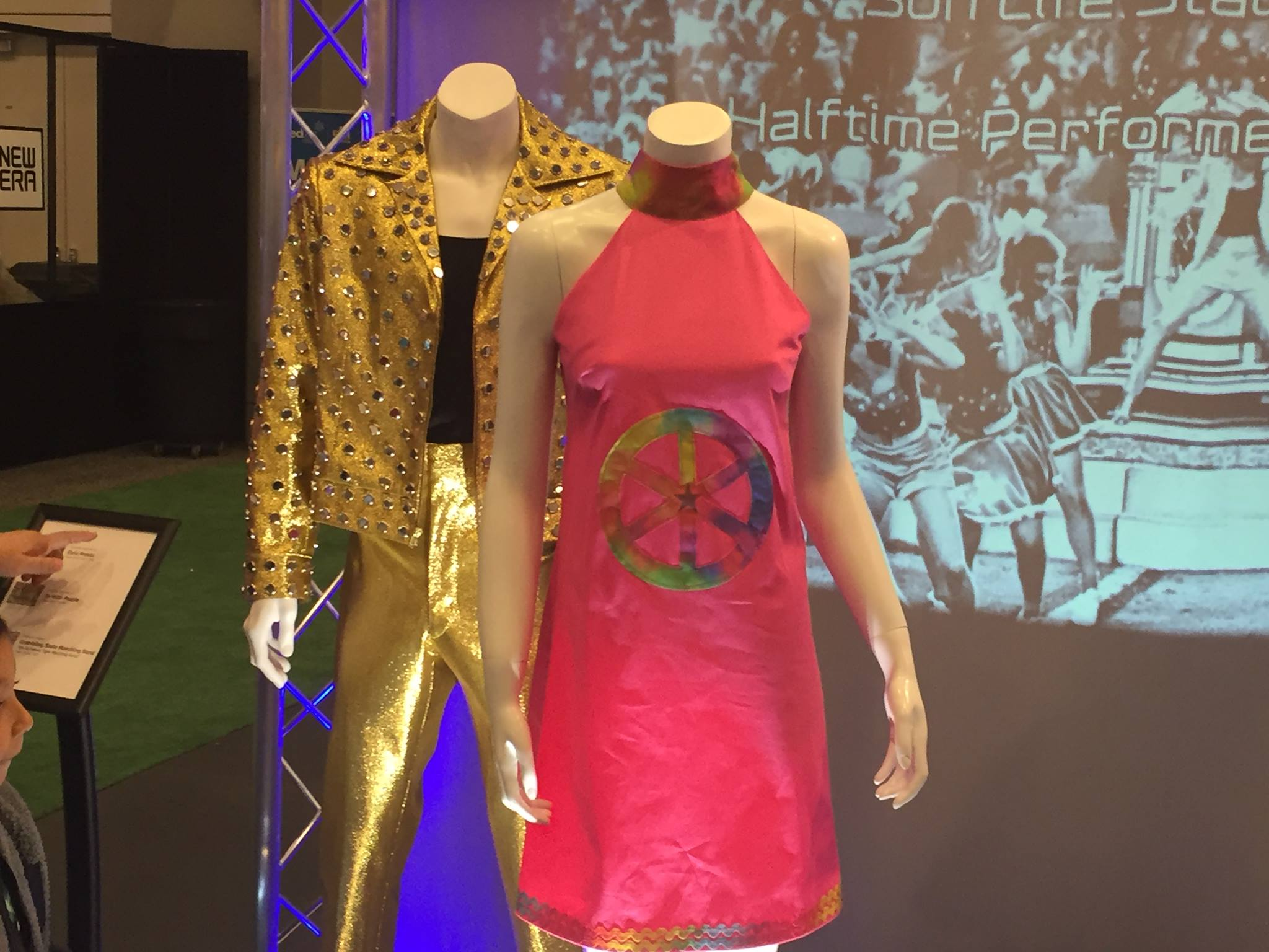 <div class='meta'><div class='origin-logo' data-origin='none'></div><span class='caption-text' data-credit='KGO-TV'>Outfits inspired by Super Bowl halftime acts &#34;Elvis Presto&#34; and &#34;Up With People,&#34; as seen at NFL Experience, Sunday, January 31, 2016.</span></div>
