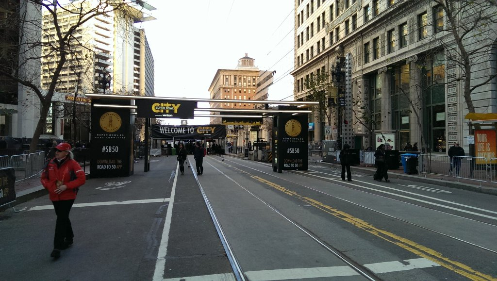 <div class='meta'><div class='origin-logo' data-origin='none'></div><span class='caption-text' data-credit='Photo courtesy Kate Eby/Twitter'>Super Bowl City construction in San Francisco on Monday, February 1, 2016.</span></div>