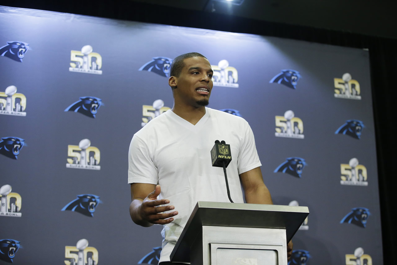 <div class='meta'><div class='origin-logo' data-origin='none'></div><span class='caption-text' data-credit='AP/Marcio Jose Sanchez'>Carolina Panthers quarterback Cam Newton answers questions during a press conference Tuesday, Feb. 2, 2016 in San Jose, Calif.</span></div>