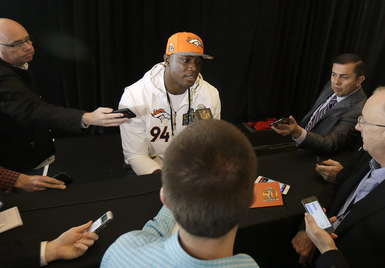 <div class='meta'><div class='origin-logo' data-origin='none'></div><span class='caption-text' data-credit='AP/Jeff Chiu'>Denver Broncos defensive end DeMarcus Ware speaks to reporters in Santa Clara, Calif., Tuesday, Feb. 2, 2016.</span></div>