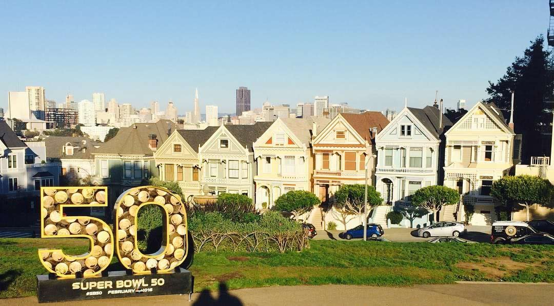 <div class='meta'><div class='origin-logo' data-origin='none'></div><span class='caption-text' data-credit='Photo sent to KGO-TV by Painted Ladies/Instagram'>Super Bowl 50 statue with the Painted Ladies in San Francisco on Tuesday, Feb. 2, 2016.</span></div>
