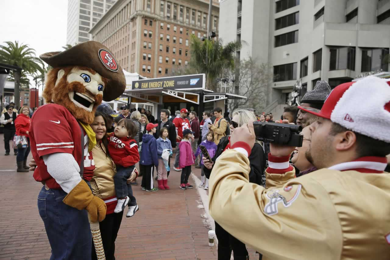 <div class='meta'><div class='origin-logo' data-origin='none'></div><span class='caption-text' data-credit='AP Photo/Eric Risberg'>Sourdough Sam poses with fans at Super Bowl City, a pro-football's weeklong theme park near the famed Ferry Building on The Embarcadero in San Francisco on Wednesday, Feb. 3, 2016.</span></div>