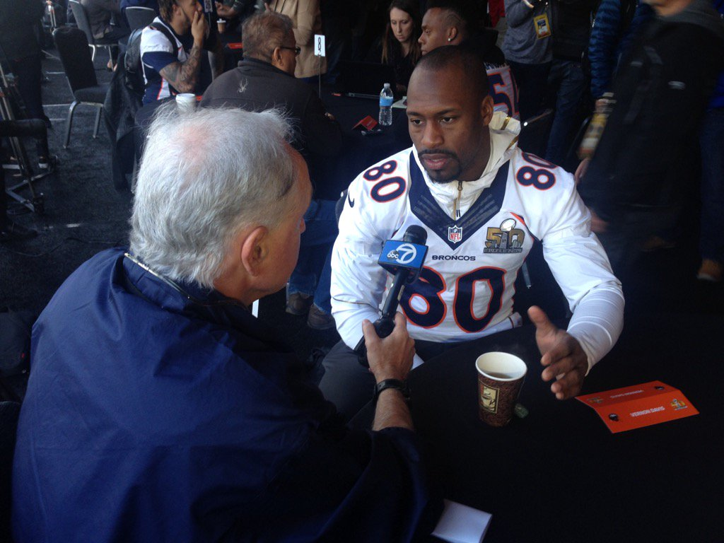 <div class='meta'><div class='origin-logo' data-origin='none'></div><span class='caption-text' data-credit='KGO-TV'>ABC7 News sports reporter Mike Shumann interviews Vernon Davis on Wednesday, February 3, 2016 in Santa Clara, Calif.</span></div>