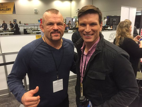 <div class='meta'><div class='origin-logo' data-origin='none'></div><span class='caption-text' data-credit='KGO-TV'>Matt Keller poses with former UFC champ Chuck Liddell, who was in Santa Clara, Calif. on Friday, February 5, 2016 to support his friend, Panther Jared Allen.</span></div>