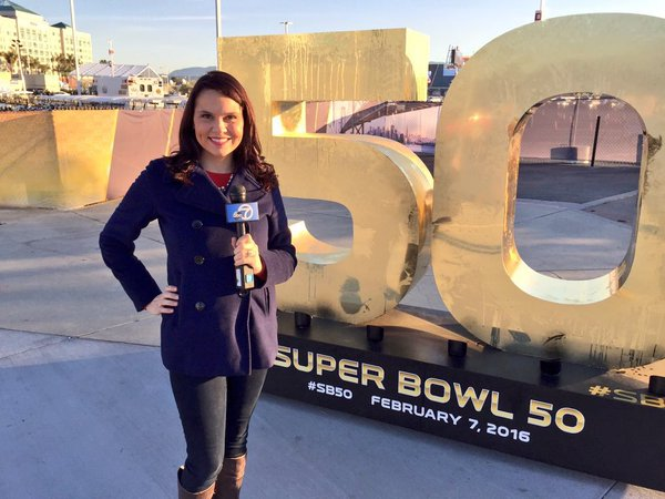 <div class='meta'><div class='origin-logo' data-origin='none'></div><span class='caption-text' data-credit='KGO-TV'>Elissa Harrington poses in front of a Super Bowl 50 sign at Levi's Stadium in Santa Clara, Calif. on Friday, February 5, 2016.</span></div>