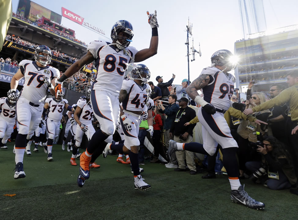 <div class='meta'><div class='origin-logo' data-origin='none'></div><span class='caption-text' data-credit='AP Photo/Jeff Chiu'>Denver Broncos' Virgil Green (85) runs onto the field before the NFL Super Bowl 50 football game Sunday, Feb. 7, 2016, in Santa Clara, Calif.</span></div>