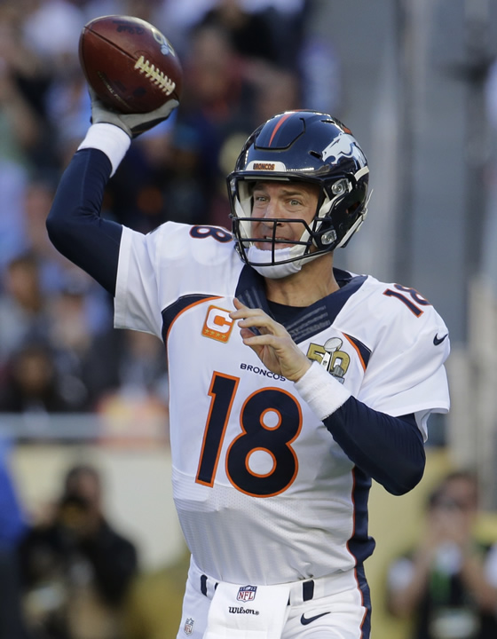<div class='meta'><div class='origin-logo' data-origin='none'></div><span class='caption-text' data-credit='AP Photo/Julio Cortez'>Denver Broncos' Peyton Manning (18) passes against the Carolina Panthers during the first half of the NFL Super Bowl 50 football game Sunday, Feb. 7, 2016, in Santa Clara, Calif.</span></div>