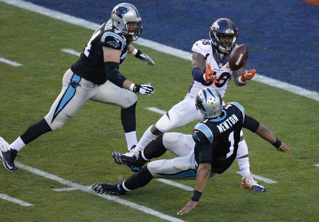 <div class='meta'><div class='origin-logo' data-origin='none'></div><span class='caption-text' data-credit='AP Photo/Charlie Riedel'>Denver Broncos' Von Miller (58) strips the ball from Carolina Panthers' Cam Newton (1) during the first half of Super Bowl 50 on Sunday, Feb. 7, 2016, in Santa Clara, Calif.</span></div>