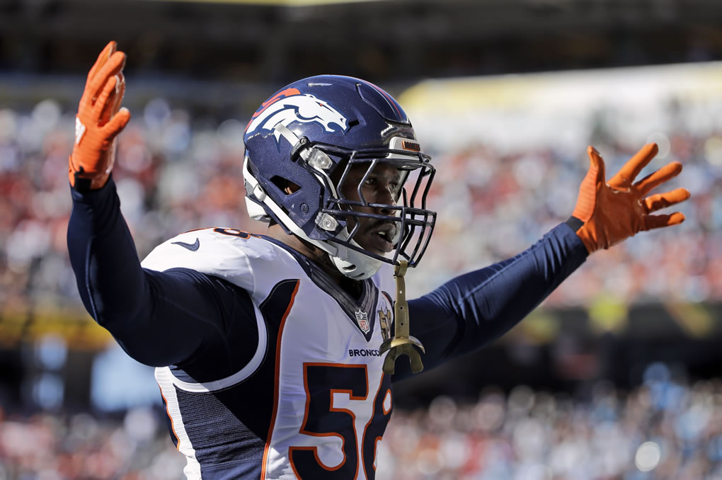 <div class='meta'><div class='origin-logo' data-origin='none'></div><span class='caption-text' data-credit='AP Photo/Jeff Chiu'>Denver Broncos' Von Miller (58) raises his arms before the NFL Super Bowl 50 football game Sunday, Feb. 7, 2016, in Santa Clara, Calif.</span></div>