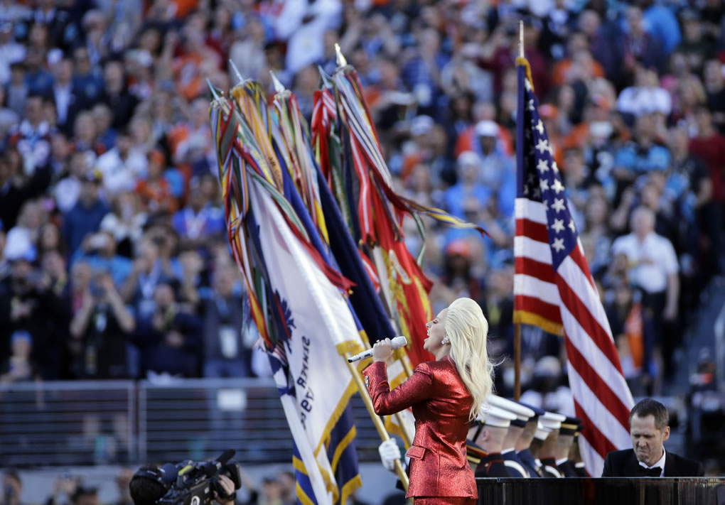 <div class='meta'><div class='origin-logo' data-origin='none'></div><span class='caption-text' data-credit='AP Photo/Julie Jacobson'>Lady Gaga sings the national anthem before the NFL Super Bowl 50 football game between the Denver Broncos and the Carolina Panthers, Sunday, Feb. 7, 2016, in Santa Clara, Calif.</span></div>