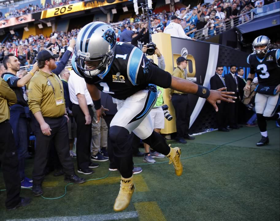 <div class='meta'><div class='origin-logo' data-origin='none'></div><span class='caption-text' data-credit='AP Photo/Matt York'>Carolina Panthers' Cam Newton (1) runs onto the field before the NFL Super Bowl 50 football game against the Denver Broncos. Sunday, Feb. 7, 2016, in Santa Clara, Calif.</span></div>
