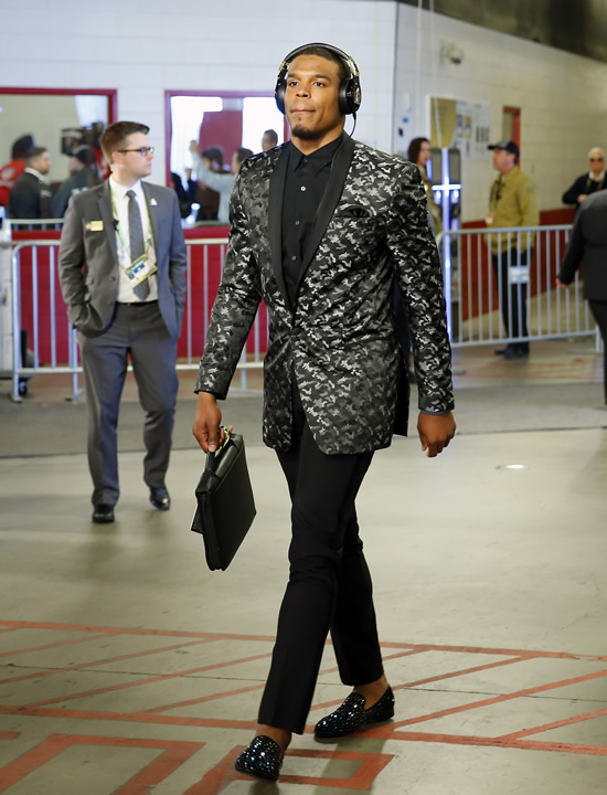 <div class='meta'><div class='origin-logo' data-origin='none'></div><span class='caption-text' data-credit='AP Photo/Matt York'>Carolina Panthers Cam Newton arrives at the stadium before the NFL Super Bowl 50 football game Sunday, Feb. 7, 2016, in Santa Clara, Calif.</span></div>